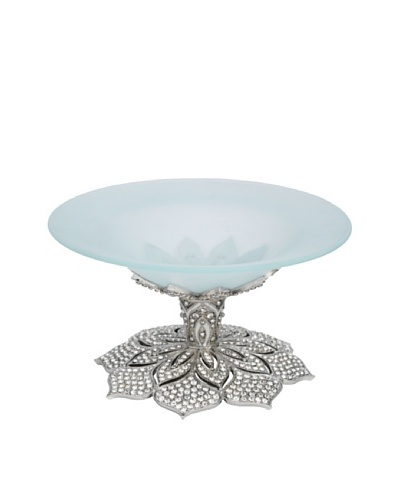 Olivia Riegel Small Windsor Frosted Glass Bowl with Swarovski® Crystals, Silver/Blue
