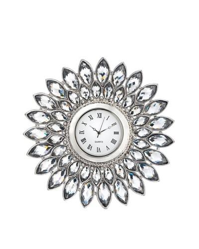 Olivia Riegel Pewter Crystal Dahlia Desk Clock