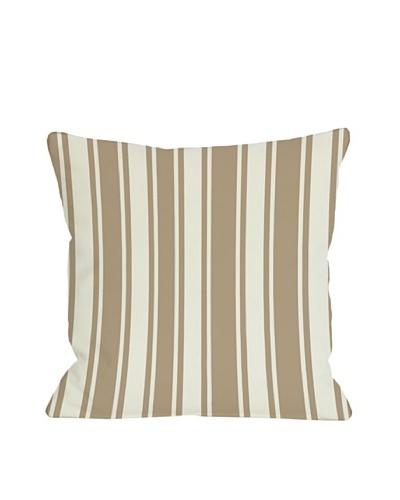 One Bella Casa Tri-Stripes 18x18 Outdoor Throw Pillow [Tan]