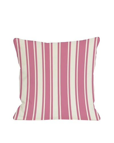 One Bella Casa Tri-Stripes 18x18 Outdoor Throw Pillow [Pink]