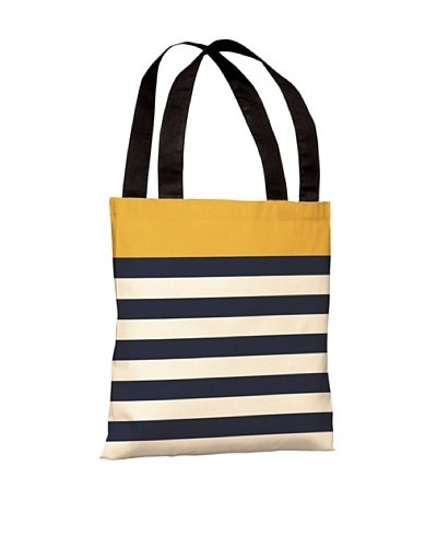One Bella Casa Nautical Stripes Beach Tote, Mimosa