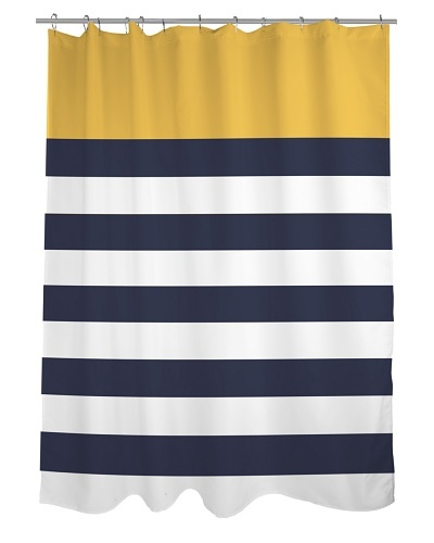 One Bella Casa Nautical Stripes Shower Curtain, Mimosa/Navy/White