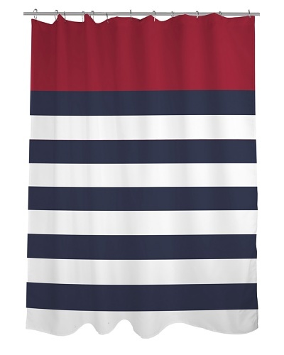 One Bella Casa Nautical Stripes Shower Curtain, Red/Navy/White