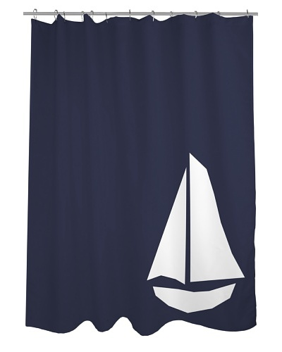 One Bella Casa Vintage Sailboat Shower Curtain