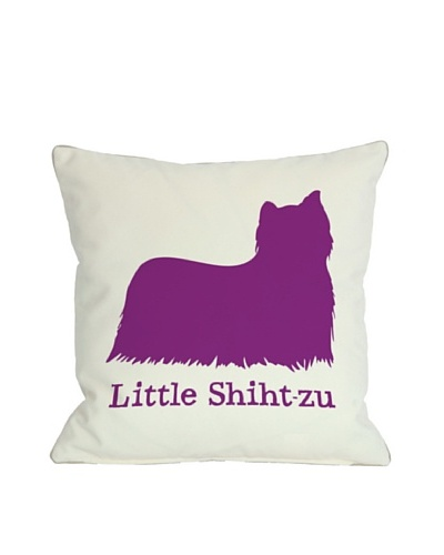 One Bella Casa Little Shiht-Zu Pillow, White/Fuchsia