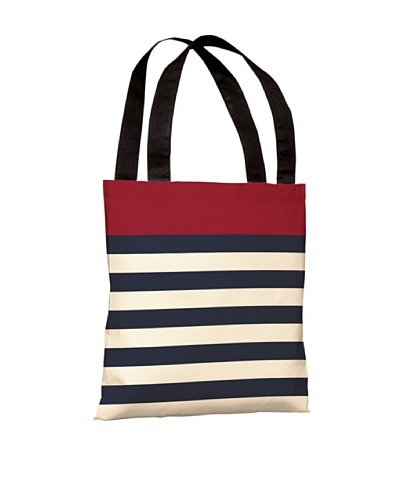 One Bella Casa Nautical Stripes Beach Tote, Red