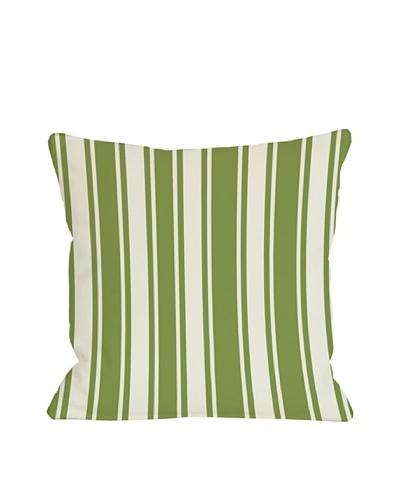 One Bella Casa Tri-Stripes 18x18 Outdoor Throw Pillow [Green]