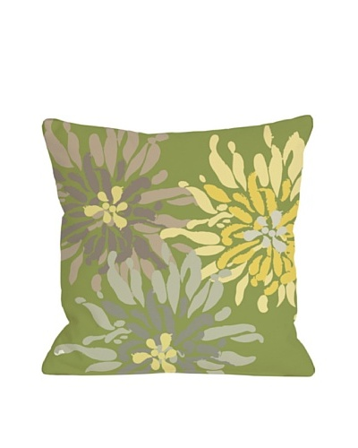 One Bella Casa Lowell Floral 18x18 Outdoor Throw Pillow [Green Naturals]