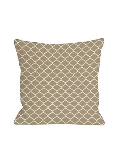 One Bella Casa Fence 18x18 Outdoor Throw Pillow [Tan]