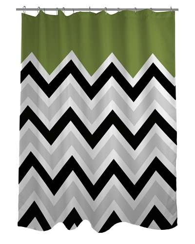 One Bella Casa Chevron Solid Shower Curtain, Black/White/Green