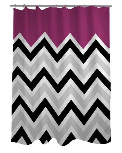 One Bella Casa Chevron Solid Shower Curtain, Black/White/Fuchsia