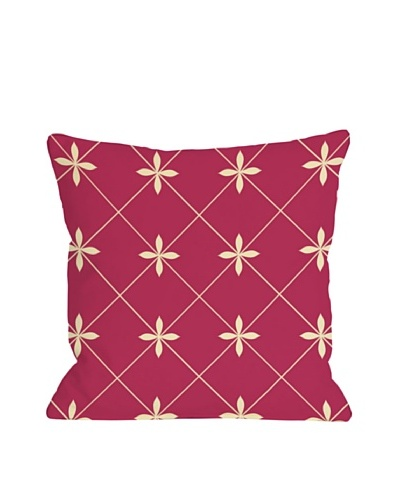 One Bella Casa Crisscross Flowers 18x18 Outdoor Throw Pillow [Pink]
