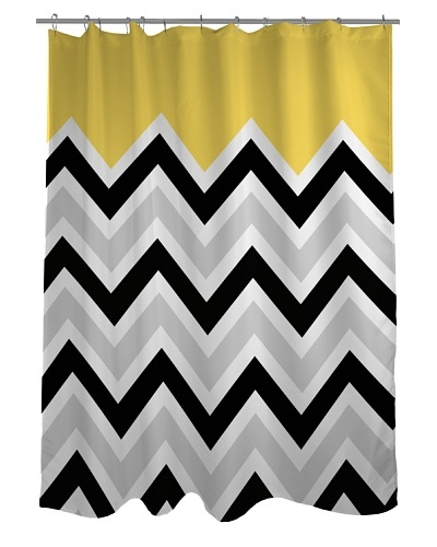 One Bella Casa Chevron Solid Shower Curtain, Black/White/Yellow