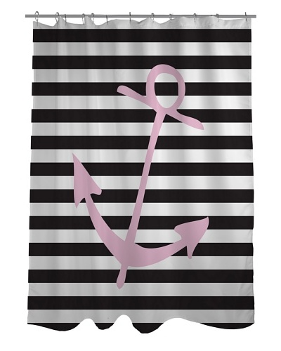 One Bella Casa Striped Anchor Shower Curtain, Black/White/Pink