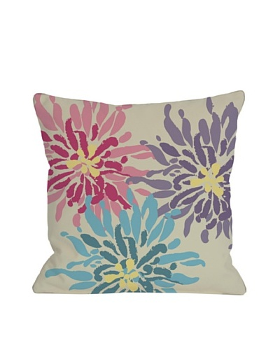 One Bella Casa Lowell Floral 18x18 Outdoor Throw Pillow [Pink/Blue]