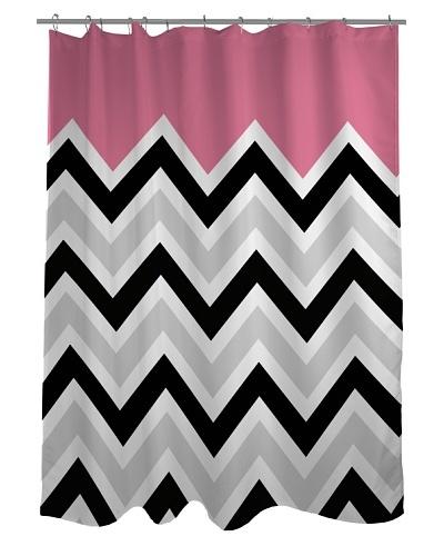 One Bella Casa Chevron Solid Shower Curtain, Black/White/Pink