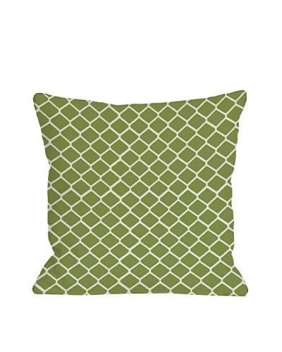 One Bella Casa Fence 18x18 Outdoor Throw Pillow [Green]