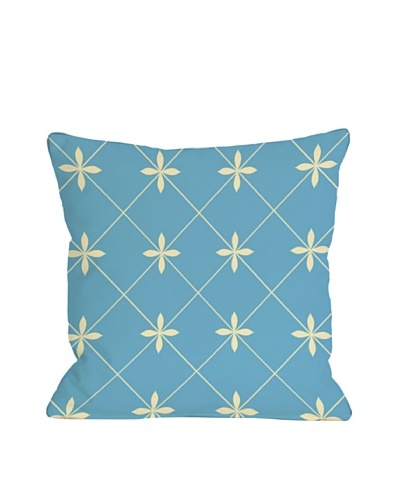 One Bella Casa Crisscross Flowers 18x18 Outdoor Throw Pillow [Light Blue]