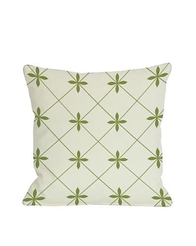 One Bella Casa Crisscross Flowers 18x18 Outdoor Throw Pillow [Green]
