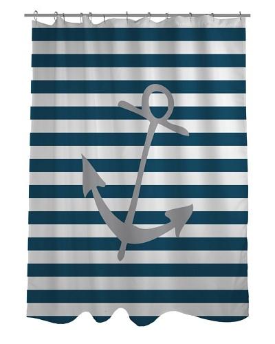 One Bella Casa Striped Anchor Shower Curtain, Blue/White/Grey