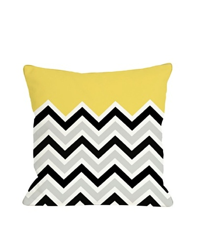 One Bella Casa Chevron/Solid 18x18 Outdoor Throw Pillow [Bright Yellow]