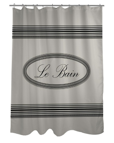 One Bella Casa Le Bain Shower Curtain, Ivory/Grey