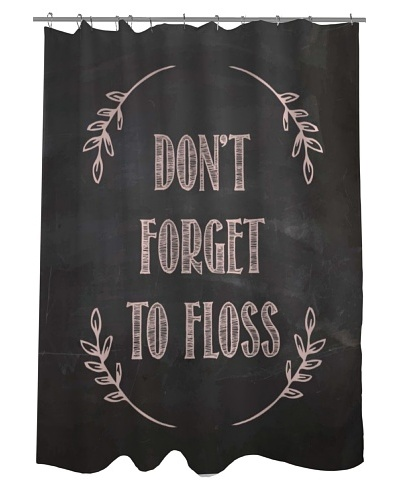 One Bella Casa Don't Forget to Floss Shower Curtain