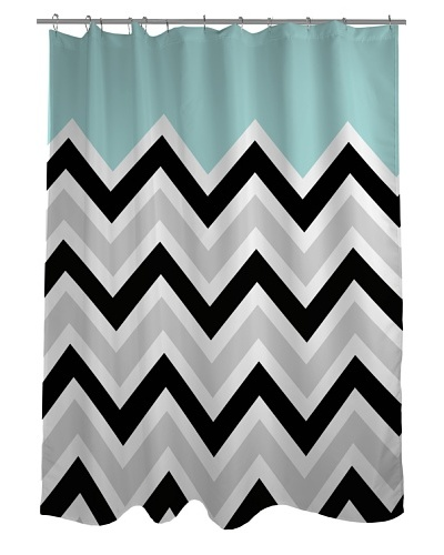 One Bella Casa Chevron Solid Shower Curtain, Black/White/Light Blue