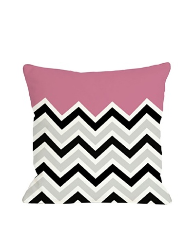 One Bella Casa Chevron/Solid 18x18 Outdoor Throw Pillow [Hot Pink]
