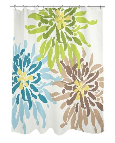 One Bella Casa Lowell Flower Shower Curtain, Blue/Green/Brown