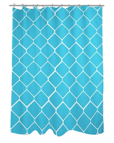One Bella Casa Fence Shower Curtain, Light Blue/IvoryAs You See
