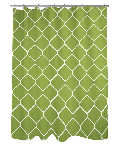 One Bella Casa Fence Shower Curtain, Green/Ivory