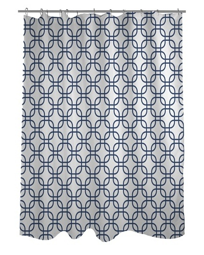 One Bella Casa Hisa Geometric Shower Curtain, White/Navy