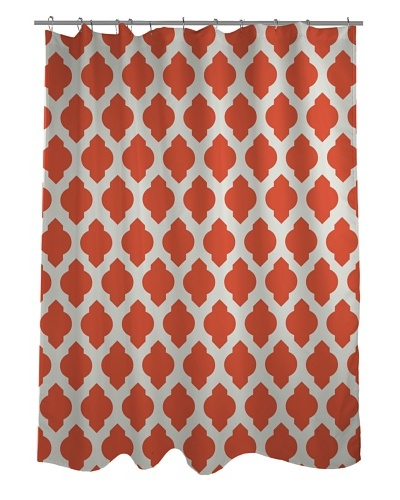 One Bella Casa All Over Morroccan Shower Curtain, Orange/Ivory