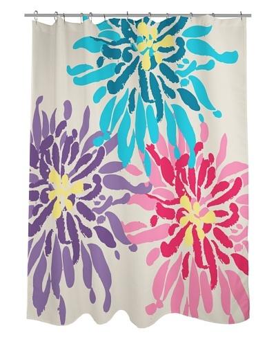 One Bella Casa Lowell Flower Shower Curtain, Purple/Pink/Blue