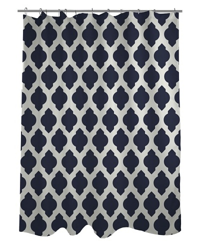 One Bella Casa All Over Morroccan Shower Curtain, Navy/Ivory