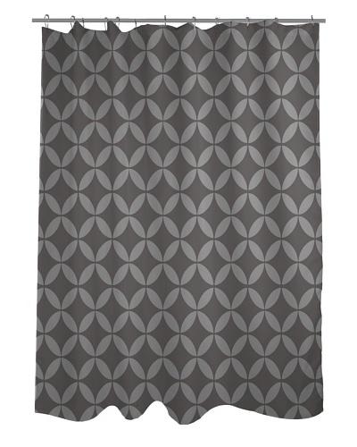 One Bella Casa Dahlia Geometric Morrocan Shower Curtain, Tonal Grey