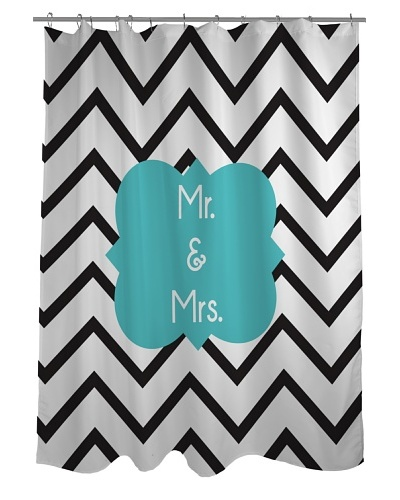 One Bella Casa Mr. & Mrs. Chevron Shower Curtain
