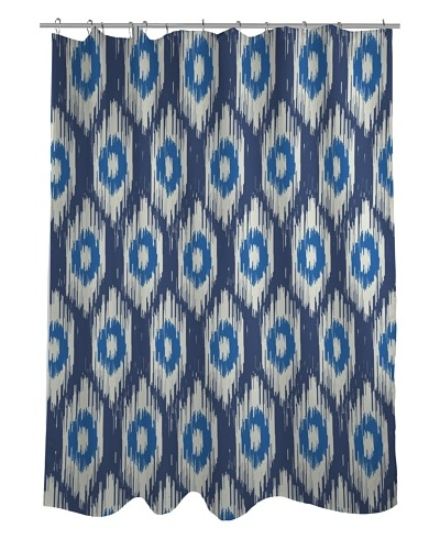 One Bella Casa Kelly Ikat Shower Curtain, Blue Multi