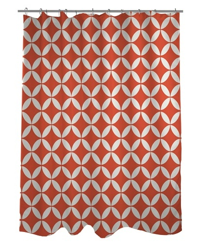 One Bella Casa Dahlia Geometric Morrocan Shower Curtain, Tiger Lily Orange