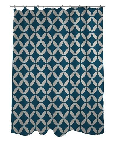 One Bella Casa Dahlia Geometric Morrocan Shower Curtain, Morroccan Blue/Ivory