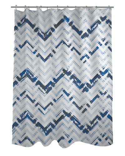 One Bella Casa Reika Zig Zag Shower Curtain, Faded Blue