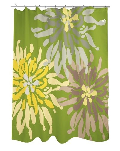 One Bella Casa Lowell Flower Shower Curtain, Green Naturals