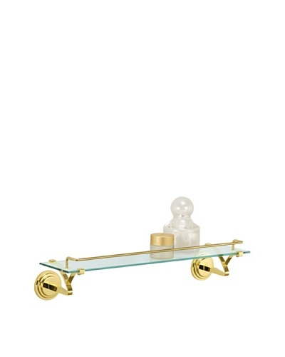 Organize It All Glass Shelf with Rail, Brass