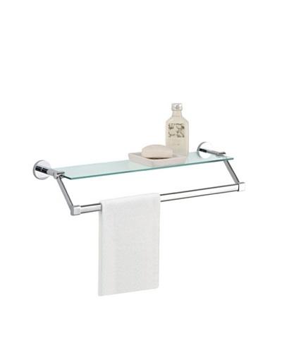 Organize It All Glass Shelf with Towel Bar, Chrome