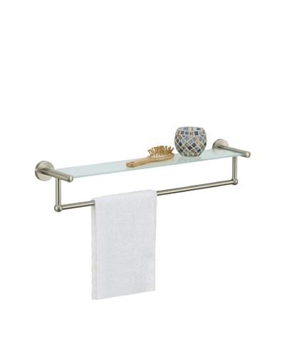 Organize It All Glass Shelf with Towel Bar, Satin Nickel