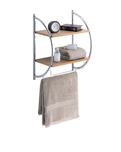 Organize It All 2-Tier Wood Mounting Shelf with Towel Bars