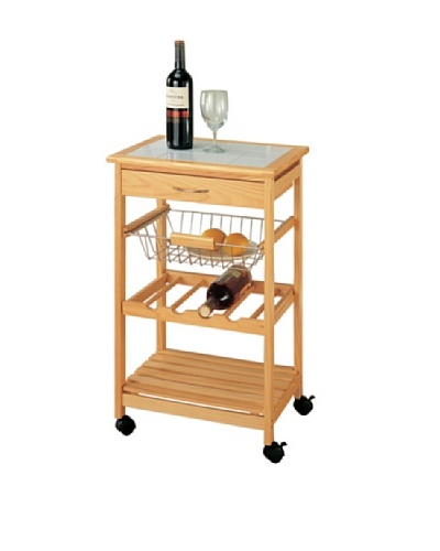 Organize It All Bamboo Kitchen Cart with-Basket