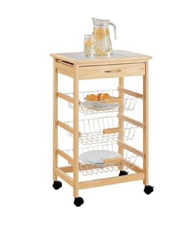 Organize It All Bamboo Kitchen Cart with 3-Baskets
