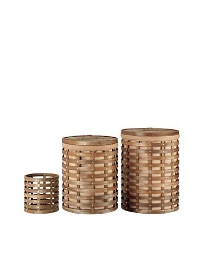 Organize It All Set of 3 Havana Round Hampers with Wastebasket